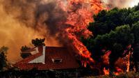 Kebakaran hutan dalam skala besar terjadi di sekitar ibukota Yunani, Athena, mengakibatkan setidaknya 20 orang tewas. (AFP/Valerie Gachel)
