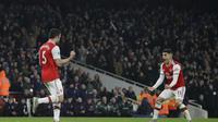 Selebrasi pemain Arsenal saat kalahkan MU (AP)