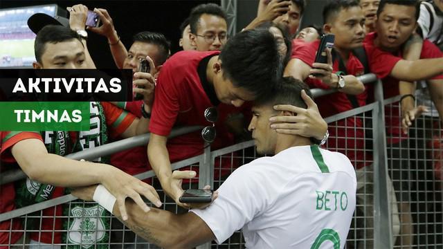 Berita video vlog bola.com tentang aktivitas para pemain Timnas Indonesia dan pertandingan menghadapi Singapura.