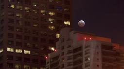 Bulan yang sedang memerah dipadukan dengan lansekap gedung-gedung tinggi terlihat di Los Angeles, California, Sabtu (4/4/2015). (David McNew/Getty Images/AFP)