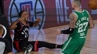 Selebrasi pemain Raptors Norman Powell saat melawan Celtics di semifinal wilayah timur NBA (AP)