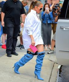 Jennifer LOpez in Versace Denim Boots - Photo