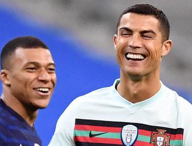 Momen Keakraban Cristiano Ronaldo dan Kylian Mbappe, Portugal Kontra Prancis Sama Kuat