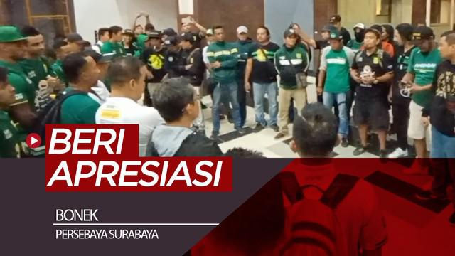 Berita video para pentolan Bonek memberikan apresiasi secara langsung kepada skuat Persebaya setelah laga kemenangan atas Bhayangkara FC di Liga 1 2019, Minggu (8/12/2019).