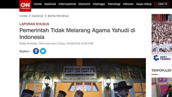Cek Fakta. Screenshot situs media nasional CNN Indonesia. (Liputan6.com)