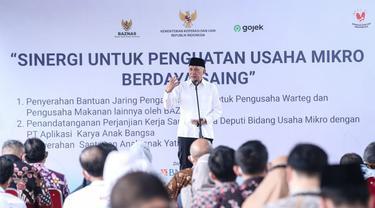 Menteri Koperasi dan UKM Teten Masduki, pada acara Sinergi Untuk Penguatan Usaha Mikro Berdaya Saing, di Jakarta, Kamis (6/5/2021).