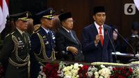 Joko Widodo atau Jokowi memberikan pidato perdana usai dilantik menjadi Presiden RI periode 2019-2024 di Gedung Nusantara, Jakarta, Minggu (20/10/2019). Jokowi dan Ma'ruf Amin resmi dilantik sebagai Presiden dan Wakil Presiden RI periode 2019-2024. (Liputan6.com/JohanTallo)