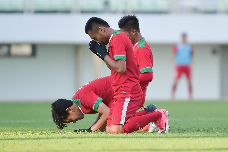 Timnas Indonesia U-19 kembali pesta gol pada kualifikasi Piala Asia. (AFP/Kim Doo-ho)