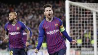 1. Lionel Messi (Barcelona) - La Pulga tampil perkasa saat menyingkirkan Manchester United 4-0 di perempatfinal Liga Champions 2019. Pria asal Argentina ini mencetak dua gol pada laga tersebut. (AP/Manu Fernandez)