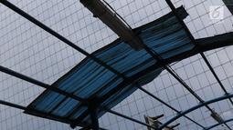 Kondisi atap JPO yang rusak di kawasan Kuningan, Jakarta, Minggu (10/2). Kondisi JPO yang sebagian atapnya hilang tersebut mengganggu kenyamanan pejalan kaki, terutama saat hujan. (Liputan6.com/Immanuel Antonius)