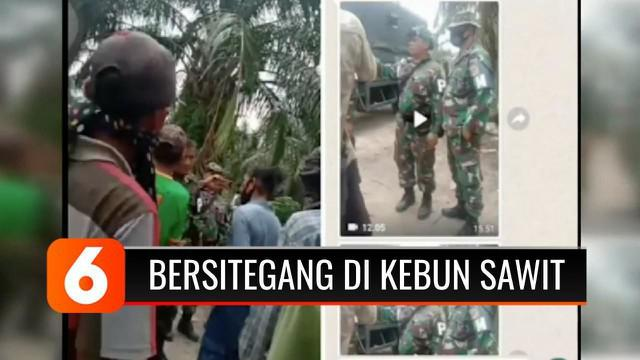 Sejumlah anggota Polisi Militer Lanal Tanjung Balai Asahan, Sumatra Utara, terlibat ketegangan dengan sejumlah penjaga kebun sawit di Desa Perbangunan, Sei Kepayang, Asahan. Enam orang diamankan polisi karena dituding menjadi provokator.