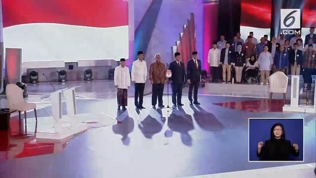 Debat perdana Pilpres 2019 dengan tema Hukum, HAM, Korupsi, dan Terorisme berlangsung di Hotel Bidakara, Jakarta Selatan.