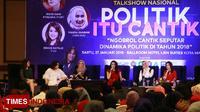 Talk Show 'Politik itu Cantik' yang digelar oleh TIMES Indonesia dan IJTI Pengda Jawa Timur di Ballroom Hotel Ijen Suites, Kota Malang, Sabtu (27/1/2018). (FOTO: Tria Adha/TIMES Indonesia)