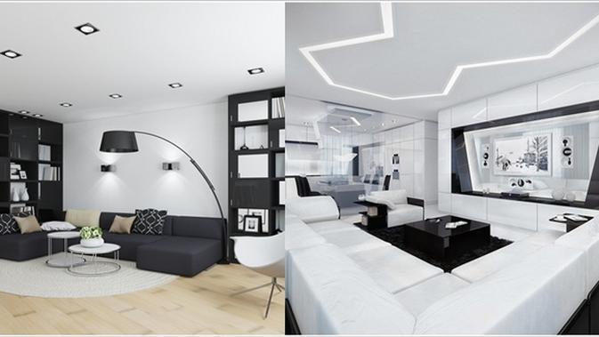 Inspirasi Desain Ruang Tamu Serba Hitam Putih Fashion