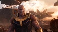 Aktor Josh Brolin saat beradegan dalam film Avengers Infinity War. Josh Brolin berperan sebagai Thanos di film tersebut. (Marvel Studios via AP)