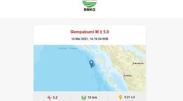 Gempa susulan guncang Nias Barat, Jumat (14/5/2021)