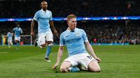 Kevin de Bruyne merayakan gol Manchester City ke gawang Paris Saint-Germain pada leg kedua perempat final Liga Champions, di Etihad Stadium, Selasa (12/4/2016). (Reuters/Andrew Yates)