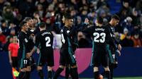 Real Madrid menang 2-1 atas Leganes pada laga tunda pekan ke-16 La Liga Spanyol, di Estadio Municipal de Butarque, Rabu (21/2/2018) waktu setempat. (AP Photo/Francisco Seco)