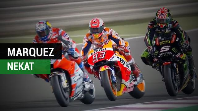 Berita video momen Marc Marquez nekat menyalip di antara Andrea Dovizioso dan Johann Zarco pada balapan MotoGP Qatar 2018.