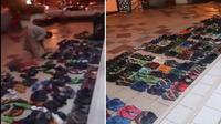 Video singkat tentang remaja yang gemar menata rapi sendal di Masjid AlShariff Gombak, Malaysia.