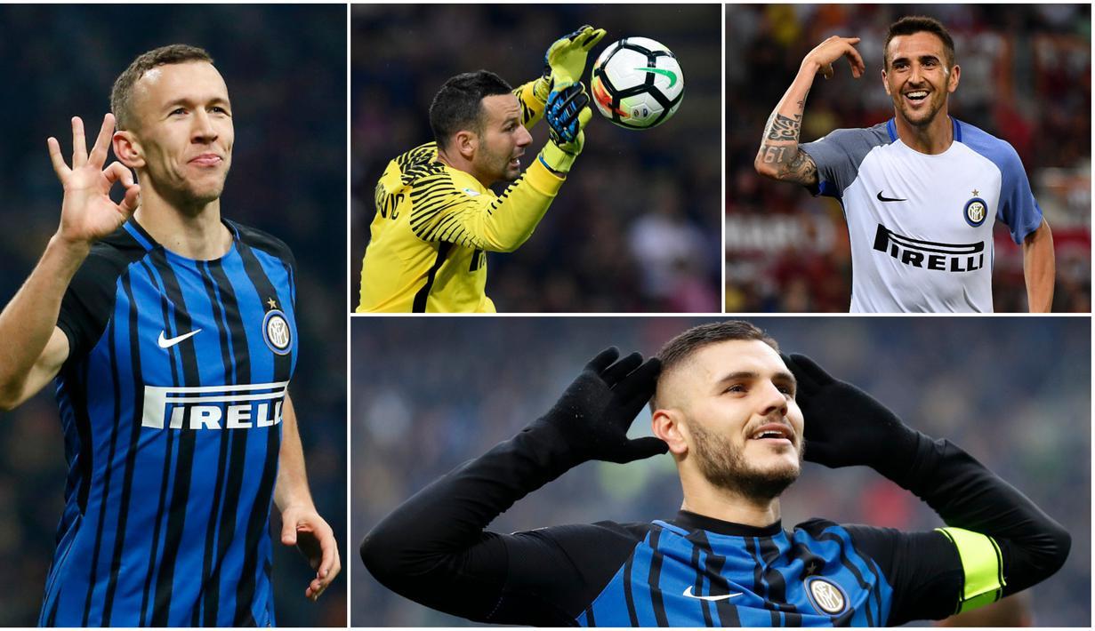 Berikut lima pemain yang membuat Inter Milan mampu tampil apik dan bangkit pada musim 2017-2018. Diantaranya, Mauro Icardi, Ivan Perisic dan Samir Handanovic. (Foto-foto Kolase dari AP dan AFP)