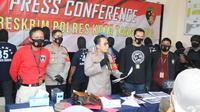 Polresta Tangerang menetapkan 9 tersangka anarkis saat demo UU Cipta Kerja. (Merdeka.com)