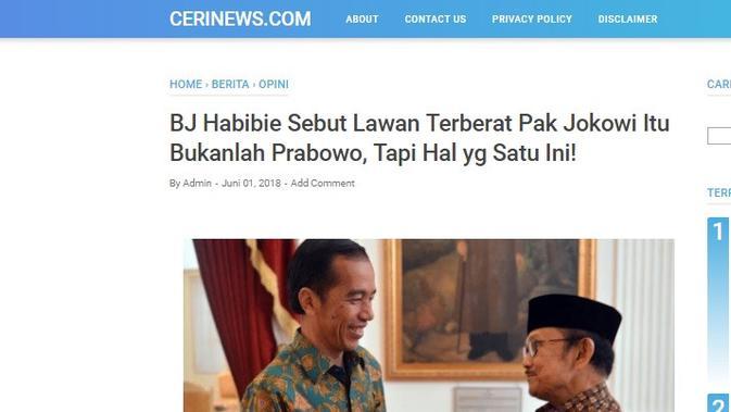Cek Fakta - Screen capture situs yang menyebut soal Habibie dan Prabowo