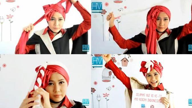 Video Tutorial Hijab Turban Segi Empat Pesta Edisi Hut Ri 70 Beauty Fimela Com