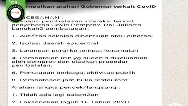 Cek Fakta 5 Wilayah Di Jakarta Diklaim Berpotensi Rawan Covid 19 Ini Faktanya Cek Fakta Liputan6 Com