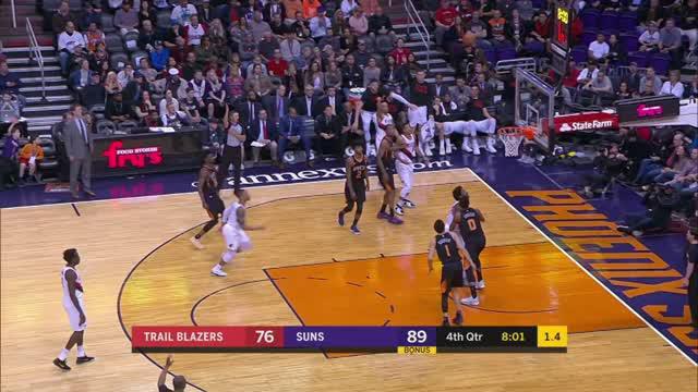 Berita video game recap NBA 2017-2018 antara Portland Trail Blazers melawan Phoenix Suns dengan skor 106-104.