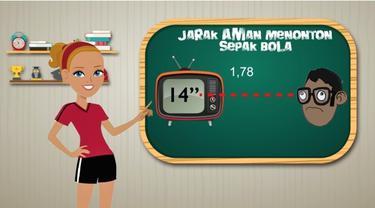 Video motion grafis mengenai tips sehat menonton siaran langsung sepak bola dari layar televisi.