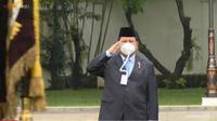 Masker Menteri Pertahanan (Menhan) Prabowo Subianto yang menarik perhatian. (Youtube Sekretariat Presiden)