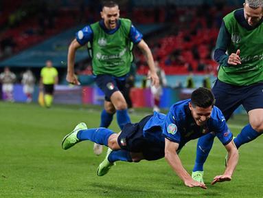 Italia susah payah kalahkan Austia di babak 16 besar Euro 2020 yang berlangsung di Stadion Wembley, Inggris. Gli Azzuri (julukan Timnas Italia) harus bermain sepanjang 120 menit pertandingan. (Foto: AFP/Pool/Ben Stansall)
