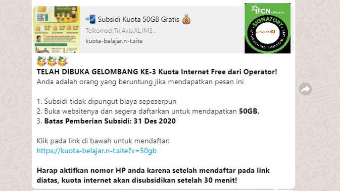 Cek Fakta Liputan6.com mendapati informasi cara mendapat subsidi kuota internet untuk belajar 50 GB