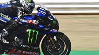 Maverick Vinales saat mengikuti sesi kualifikasi MotoGP San Marino di Sirkuit Misano, Sabtu (12/9/2020). (ANDREAS SOLARO / AFP)