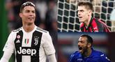 Meski Juventus memastikan gelar ke-delapan Liga Serie A, Minggu (21/4), namun Cristiano Ronaldo masih gagal menambah keran gol pribadi miliknya di liga domestik. (Kolase Foto AFP)