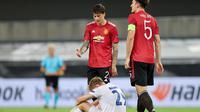 Striker Copenhagen tampak lesu usai timnya di kalahkan secara dramatis oleh Manchester United. (WOLFGANG RATTAY / POOL / AFP)