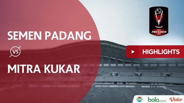 Semen Padang meraih kemenangan atas Mitra Kukar.  di Piala Presiden 2019 dengan skor akhir 2-0 pada laga terakhir di Grup B yang dimainkan di Stadion Patriot Chandrabhaga, Kamis (14/3/2019).