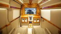 Interior Mercedes Sprinter A3 disulap menjadi sangat mewah (Herdi/Liputan6.com).