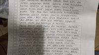 Surat wasiat dari pelaku penyerangan Mabes Polri. (Ist)