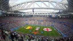 Suasana di dalam stadion sebelum laga perebutan tempat ke tiga Piala Dunia 2018 antara Inggris melawan Belgia di Stadion Saint Petersburg, Rusia. (Bola.com/Okie Prabhowo)