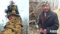 Penduduk di Linqu, provinsi Shandong, Tiongkok, dihebohkan dengan sebuah bangunan menyerupai benteng yang terdiri dari dua lantai.