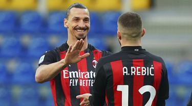 FOTO: Zlatan Diusir Wasit, AC Milan Tundukkan Parma 3-1 - Zlatan Ibrahimovic; Ante Rebic