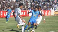 PSIM Yogyakarta memenangi Derby DIY jilid pertama setelah membungkam PSS Sleman 1-0 dalam lanjutan Grup Timur Liga 2 di Stadion Sultan Agung, Bantul, Kamis (26/7/2018). (Bola.com/Ronald Seger Prabowo)