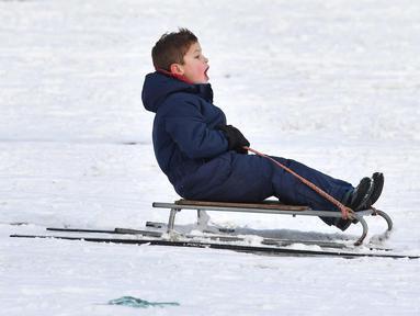 """Seorang anak bermain kereta luncur selama hujan salju di taman Dunorlan di Tunbridge Wells, Inggris (27/2). Cuaca dingin di Siberia yang dijuluki """"The Beast from the East"""" membuat suhu di sebagian Eropa menurun. (AFP Photo/Ben Stansall)"""