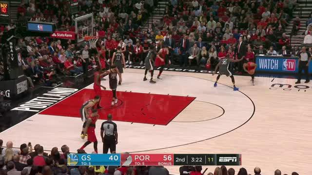 Berita video game recap NBA 2017-2018 antara Portland Trail Blazers melawan Golden State Warriors dengan skor 123-117.