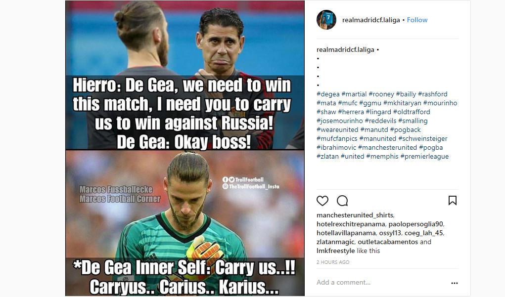 David Ge Gea jadi meme (Sumber: Instagram/ @realmadridcf.laliga)