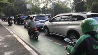 Jalur sepeda di Jakarta masih diterobos kendaraan bermotor. (Andi Muhyidin/Liputan6.com)