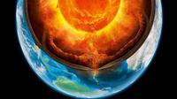Ilustrasi lapisan inti Bumi. (Sumber: BBC)