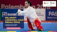 Atlet wushu Indonesia, Lindswell Kwok, raih medali emas pada kelas  Taijiquan & Taijijian. (Bola.com/ Foto: Vitalis Yogi, Grafis: Dody Iryawan)